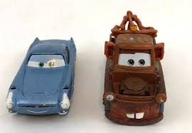 Disney Pixar World of Cars 3 Mater Brown Tow Truck 1:55 and Blue Car