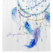 Personalized Spinning Dream Catcher Desert Southwest Dream Catcher Feather Watercolor Shower Curtain 39