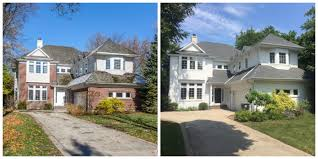painting exterior brick before and after