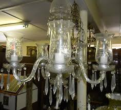 vintage etched crystal chandelier 5 arm hurricane glass shades fl prisms