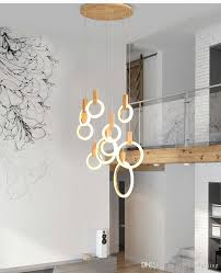 Contemporary Led Light Fixtures Contemporary Led Chandelier Lights Nordic Led Droplighs Acrylic Rings Stair Lighting 3 5 6 7 10 Rings Indoor Lighting Fixture Home Lights Yellow