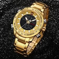 <b>NAVIFORCE Top Brand Mens</b> Gold Quartz Watch Men Army Military ...