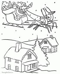 Small Picture Santa Coloring Pages With Reindeer babsmartincom babsmartincom