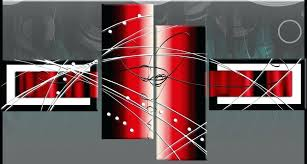 black and white abstract wall art black white red wide stretch 4 panel abstract canvas wall