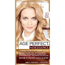 L Oreal Excellence Age Perfect Hair Color Chart Loreal Paris Excellenceage Perfect Layered Tone Flattering Color 8n Medium Natural Blonde Set Packaging May Vary