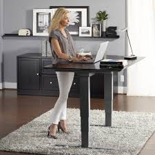 adjustable standing desk office. Espresso Height Adjustable Standing Desk Design Feature Grey Metal Legs And White Fur Area Rug For Office G