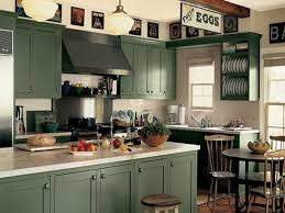 Kitchen with Dark Green Cabinets Painting