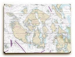 Nautical Charts San Juan Islands Wa Wa San Juan Islands Wa Nautical Chart Sign Altered Art