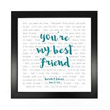 Queen Youre My Best Friend Typography Song Lyrics Print Framed Personalised Anniversary Valentines Wedding Gift Perfect For Him Her Couple