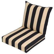 black cabana stripe 2 piece deep seating outdoor lounge chair cushion