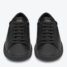 fancy classic black leather sneakers by saint lau