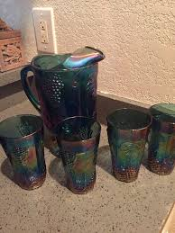 vintage indian glass co harvest design carnival glass pitcher and 4 tumblers collectibles in wellington fl offerup