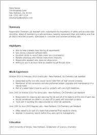 Resume Templates: Chemistry Lab Assistant