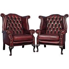 english vintage oxblood leather wingback chesterfield