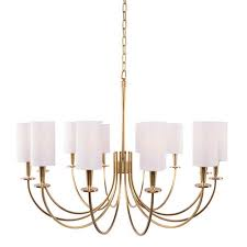 hudson valley mason aged brass 12 light chandelier with white shade