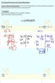 3 6 using formulas and literal equations