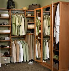 Enchanting Interior L Shaped Brown Stained Wooden Closet Organizer Together  With Small Closets Also Brown Pile