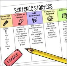 narrative writing transition words sentence starters any topic  sentence starters chart opt in
