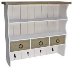 wall mounted shelving unit in white finished wood with 3 drawers and 4 hooks traditional storage cabinets by decor love