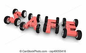Word Cars Safe Word Wheels Cars Driving Auto Insurance Safety Caution 3d