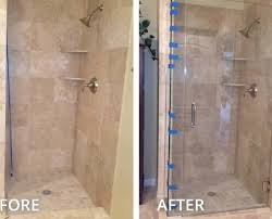 before and after shower glass swing door