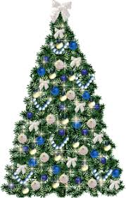 Christmas Tree, Blue, Blue Ornaments and White Bows (Large) This Page