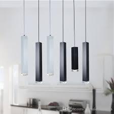 2018 new fast led black pendant lamp lights kitchen island dining room bar counter decoration cylinder pipe pendant lights black white light