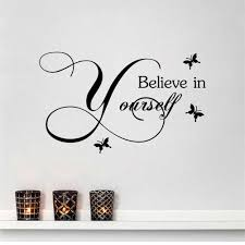 Bibitime 3 Butterflies Sayings Believe In Yourself Wall Decal English Words Quotes Sticker For Nursery