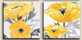 gray yellow flower floral canvas wall art modern prints posters home d cor ebay on yellow wall art ebay with gray yellow flower floral canvas wall art modern prints posters home