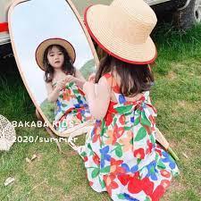 Váy hoa 2 dây đi biển hở lưng nơ buộc sau cho bé gái điệu đà 8-23kg --Thời  trang bé yêu XQ giá cạnh tranh
