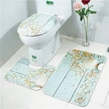 3pcs anti slip bath mat ocean pattern bath mat flannel carpet three bath mat sets toilet