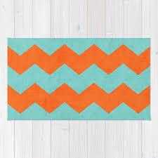 chevron teal and orange rug