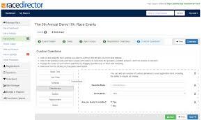 race in application form custom race registration forms racedirector