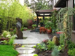 Japanese Patio, Bamboo Screen Asian Landscaping Stock & Hill Landscapes,  Inc Lake Stevens,