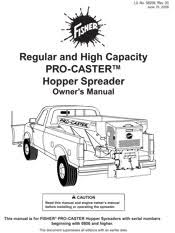 fisher salt spreader documents fisher pro caster owners manual