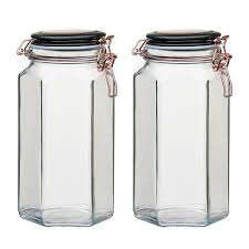 amici home adler 52 oz 2 piece glass hermetic canister with copper clips