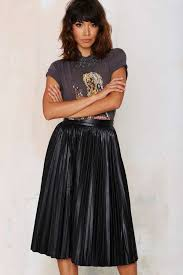 leather midi skirts nasty gal factory bleecker pleated midi skirt