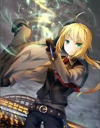 anime 1377x1766 anime anime s short hair green eyes blonde saber fate series