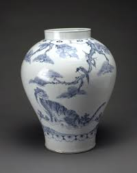 Korean Pottery Designs Jar With Tiger And Magpie Article Korea Khan Academy