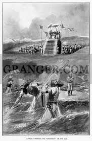 Image of XERXES AT HELLESPONT. - King Xerxes I (Ahasuerus) Of Persia  Commanding The Punishment Of The Sea After A Storm Destroyed The First  Bridge Of Ships Constructed Across The Hellespont Pass (