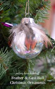 make a unique pottery barn knockoff feather and glass ball ornaments for a fraction of
