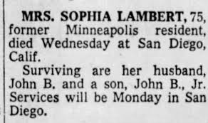 Obituary for SOPHIA LAMBERT (Aged 75) - Newspapers.com