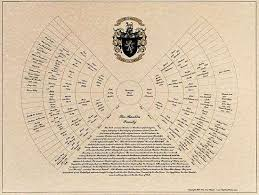 Customized Genealogy Chart In Calligraphy And Family Coat Of Arms
