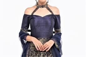 Off Shoulder Designer Suits Shop Designer Dark Blue Off Shoulder Lace Anarkali Suit
