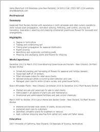 Resume Templates: Plant Nursery Worker