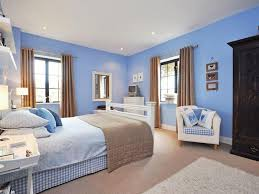 Contemporary Sexy Beige Blue White Bedroom Master