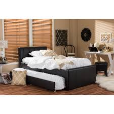 cosmo black faux leather twin size trundle bed