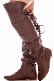 brown faux leather over the knee back strap boots