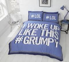 i woke up like this blues home design blue striped bedding grumpy duvet cover set single5