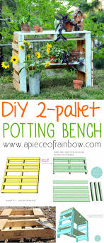 diy pallet potting bench apieceofrainbowblog